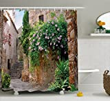 Ambesonne Landscape Shower Curtain, Summer Garden Flowers Marigold Stones Antique Ancient House in Spain Art Print, Fabric Bathroom Decor Set with Hooks, 75 Inches Long, Multicolor