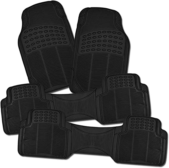 Zone Tech All Weather Rubber Semi Pattern Car Interior Floor Mats – 4-Piece Set Black Heavy Duty Car Interior Floor Mats