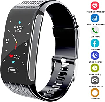 Hocent Fitness Tracker, Activity Fitness Watch Waterproof Pedometer with Sleep Heart Rate Monitor Step Calorie Track Call SMS SNS Alert Stopwatch for ...