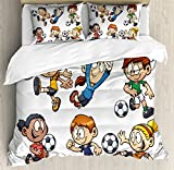 Soccer Duvet Cover Set Queen Size by Ambesonne, Children Cartoon Drawing Style Kids Playing Football Happy Moments Active Lifestyle, Decorative 3 Piece Bedding Set with 2 Pillow Shams, Multicolor