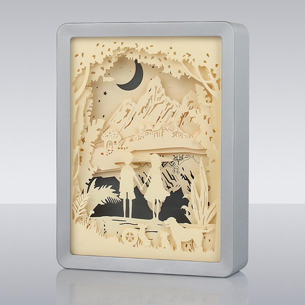 LED Night Lamps Paper Carved Lights, AOKOALA 3D ABS Electroplate Frame Lamp/ Bedroom light, USB Decorative Lights for Lover , Silver