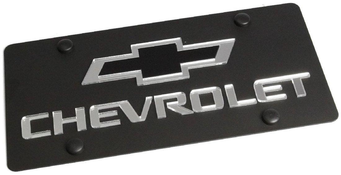 Eurosport Daytona Stainless Steel Black Chevy Mirror Black Logo License Plate Frame 3D Novelty