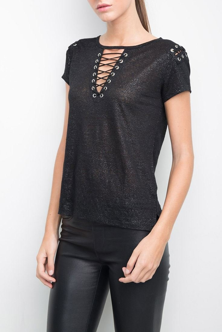 Generation Love Women's T-Shirt Hugo Lace Up Tee - Black Silver - M by Generation Love (Image #2)