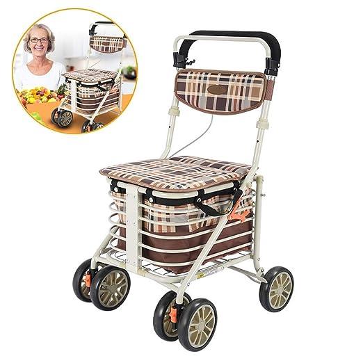 LHZHG Carrito de Compra Plegable | Andador de Aluminio para ...