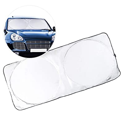 Zone Tech Windshield Sun Shade Nylon– Blocks UV Rays Sun Visor Protector Jumbo Magic Premium Quality Super Reflective Car Sunshade- Easy to Use, Keeps Vehicle Cool- SUV Trucks Minivan Auto: Automotive