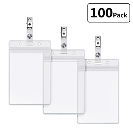 2169c1899435 Clear Plastic Vertical Nametag Holders and Metal Badge Clips with Vinyl  Straps Waterproof PVC ID Card Holder by LONOVE (100 Pack, Vertical 3.5x2.3)