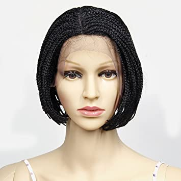 Amazon Com Yxcherishair Short Braid Lace Front Wigs With Baby Hair