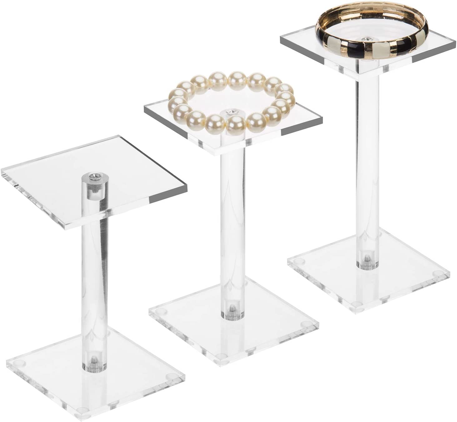 MyGift Premium Clear Acrylic Square Pedestal Display Riser Stands, Set of 3