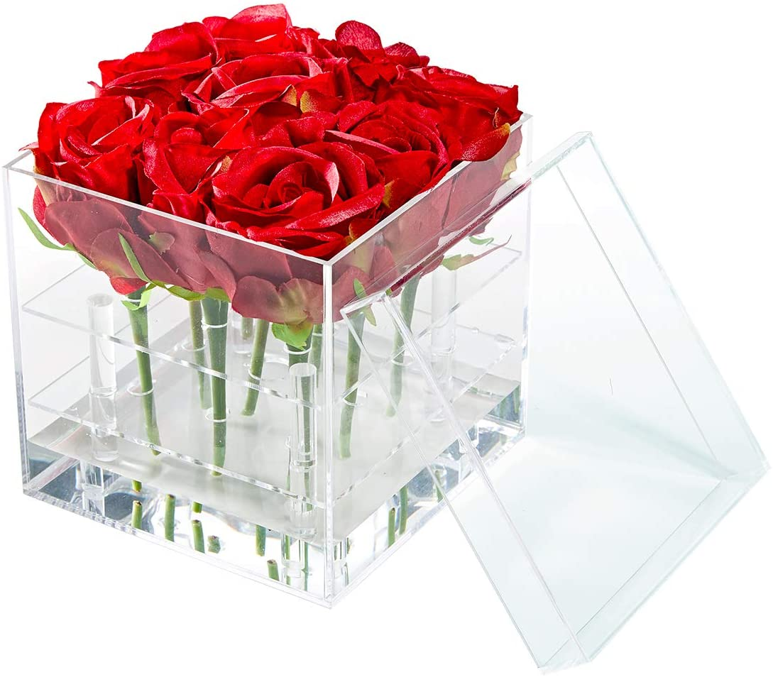 Weiai Acrylic Flower Box Water Holder, Clear Rose Pots Stand – Decorative Square Vase with Removable 2 Tiers 9 Holes – Valentine s Day, Mother s Day, Birthday Gift