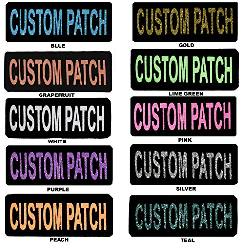 Dogline Personalized Removable Patch Label Tag w/ GLITTER Letters For Dog Harness and Collar or Vest Agility Dog Name Custom w VELCRO brand fastener | Pink | 2