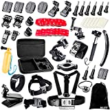 BAXIA TECHNOLOGY Accessories for GoPro HERO 4 3+ 3 2 Black Silver, Accessory Kit for GoPro 4 3+ 3 2