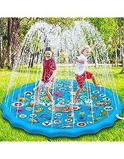 Paochocky Kids Splash Pad Sprinkler Play Mat, 68 inch Sprinkle Splash Water Pad Speelgoed Pool voor Alfabet Leren, Zomer Outdoor Water Sprinklers Games Tuin Strand Spray Mat Speelgoed Geschenken voor Jongens Meisjes
