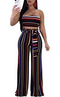 e3f7a911e719 Cutedi Womens Sexy Rainbow Stripe Print Bodycon Strapless 2 Piece Outfits  Jumpsuits Tube Crop Top and