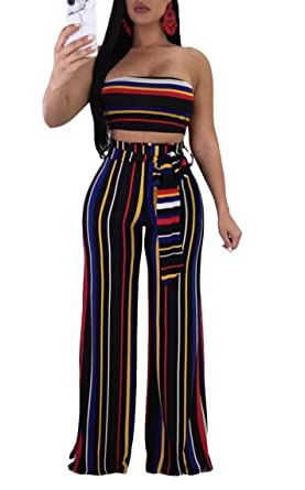 415acbdef78 Cutedi Womens Sexy Rainbow Stripe Print Bodycon Strapless 2 Piece Outfits  Jumpsuits Tube Crop Top and