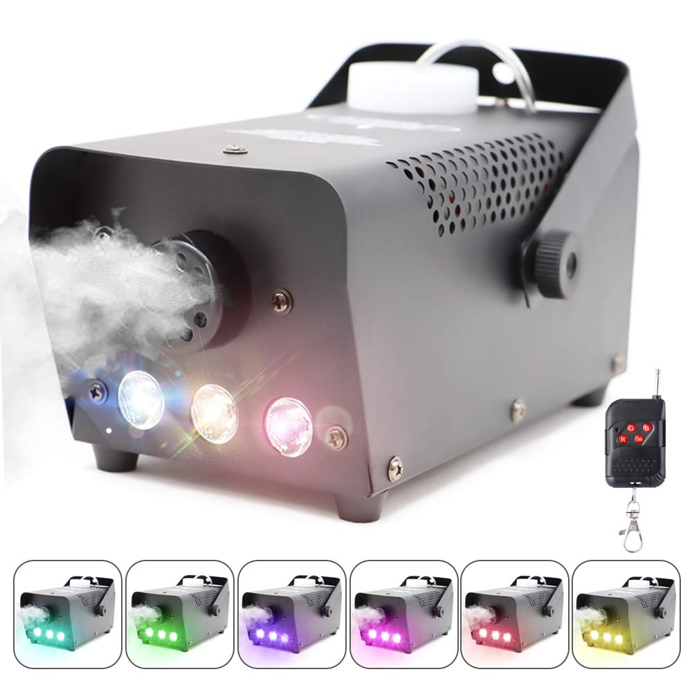 Fog Machine with Lights Wireless Remote Control, Smoke Machine with 7 Colors Lights for Stage Party Effect, Halloween Wedding Special Event & More