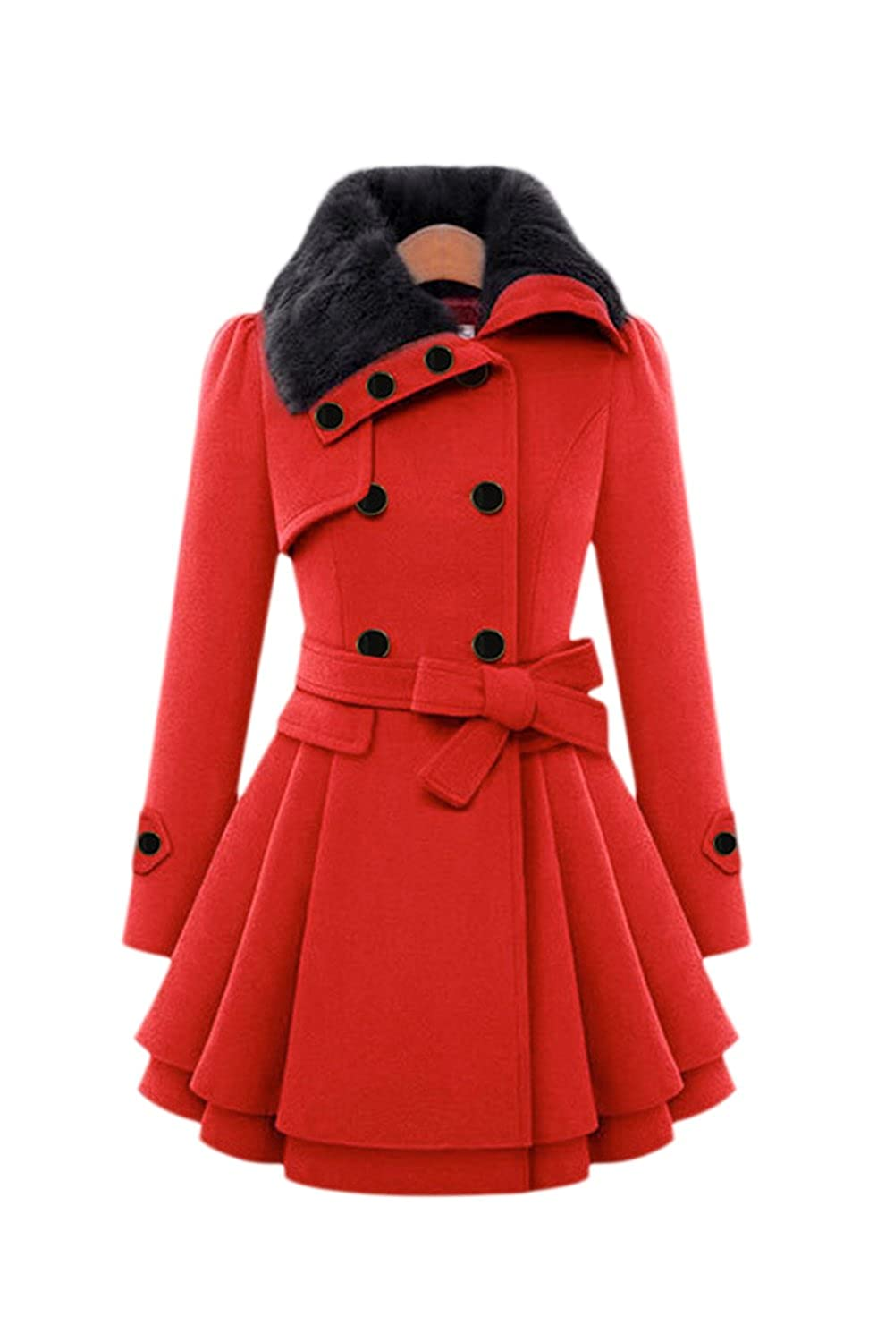 Zilcremo Women Plus Size Winter Elegant Warm Lined Woolen Trenchcoat Outerwear CAFZ1447
