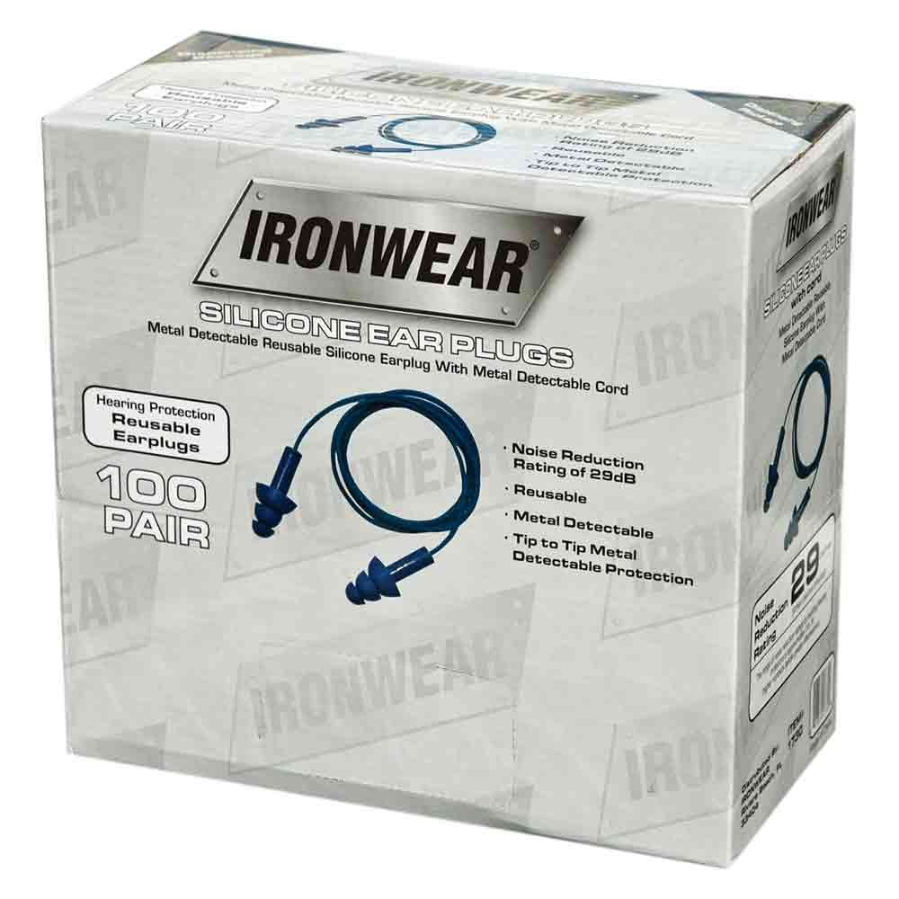 Ironwear 1730 Reusable Metal Detectable 29-Decibel Silicone Ear Plugs with PE Safety Cord, Blue, Box of 100 Pairs by Ironwear (Image #1)