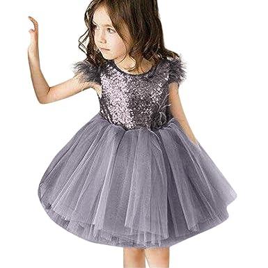 Trada Kinder Kleider, Kinderkleidung Baby Pelz Ärmel Pailletten Kleid Kleidung Tutu Sommerkleid Casual Kleider Festliche Klei