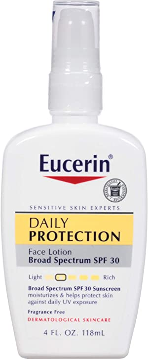 Eucerin Daily Protection Face Lotion - Broad Spectrum SPF 30 - Moisturizes and Protects Sensitive, Dry Skin - 4 Fl Oz Pump Bottle