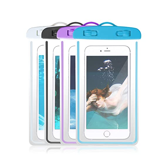 27c6934f07 4-Pack Universal IPX8 Waterproof Case, Luminous Cellphone Dry Bag Phone  Pouch for iPhone