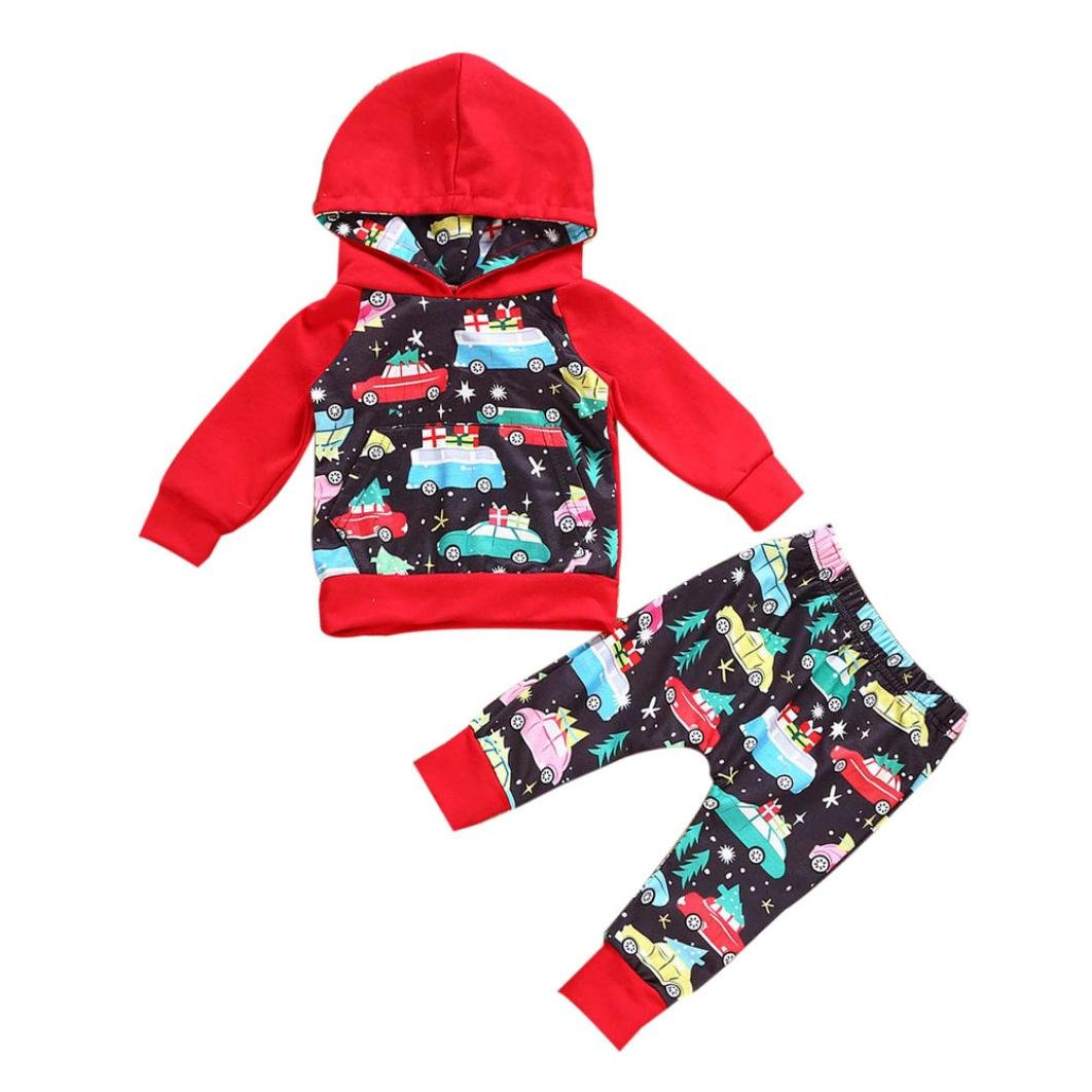 Xshuai for 0-18 Months Kids My First Christmas Clothes Set Newborn Infant Toddler Baby Girl Boy Hooded Tops+Pants Outfits