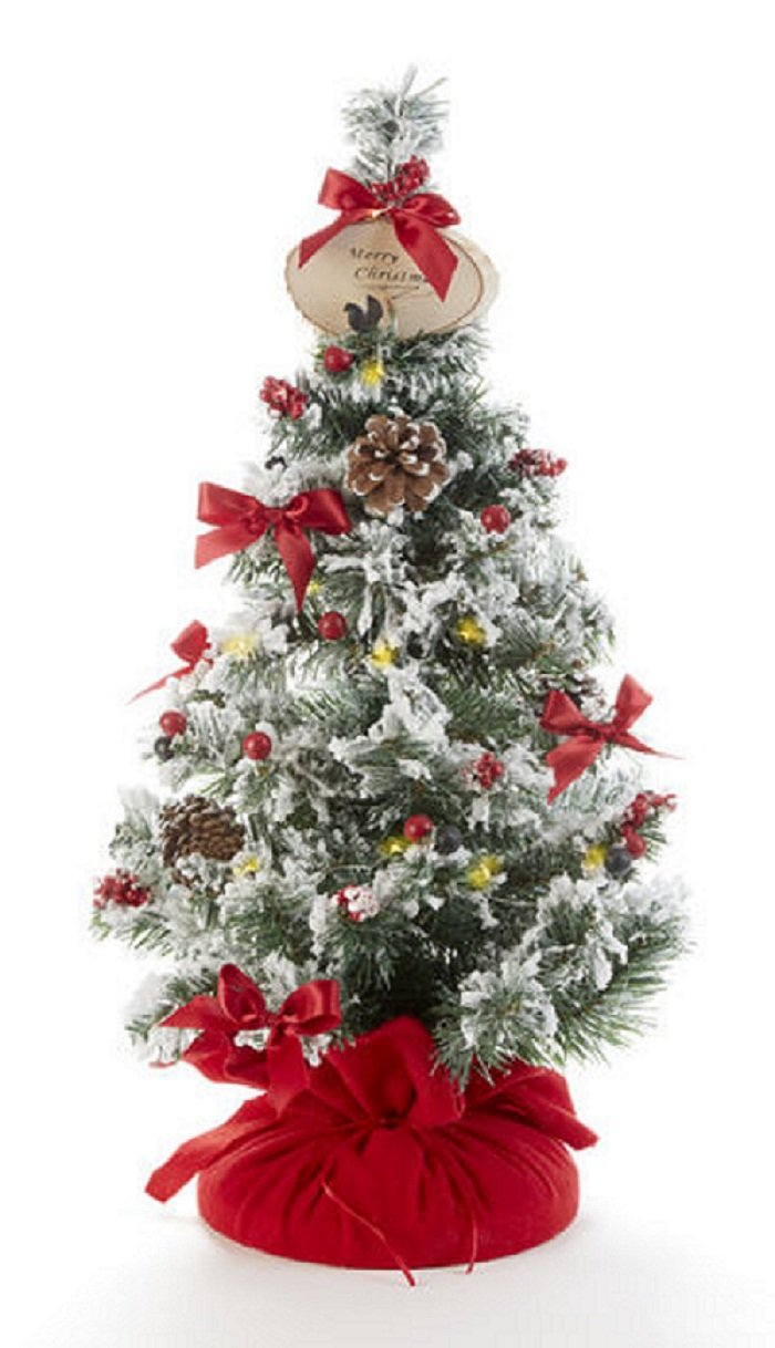 Delton Products Merry Christmas 24 Inches Tree with LED Lights Home Decorative Accents