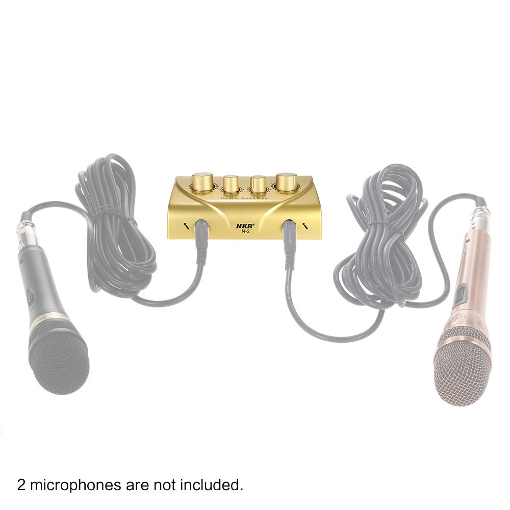 ammoon Karaoke Sound Mixer Dual Mic Inputs With Cable N-1 Silver Color