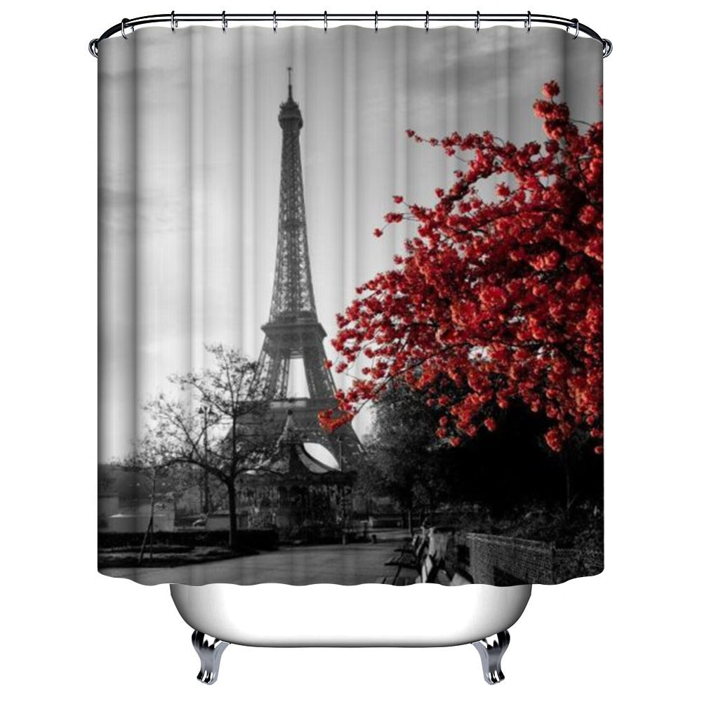 Amazon Com  Uphome 72 X 78 Inch Waterproof Grey Paris Eiffel Tower Custom Bathroom Shower Curtain Cityscape Red Flower Polyester Fabric
