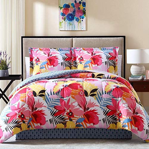 8pc Floral Pink White King Bed in A Bag Comforter Set,Multi Tropical King Bedding Comforter Set,Blush Blue Black Yellow Tree Flowers Spring Refreshing Vibrant Cool Girls Decorative All Printed
