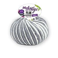 Woolly Hugs Plan Fb. 85, 100g Merinowolle extrafein mit Baumwolle zum Stricken und Häkeln, geeigent für planned pooling Technik