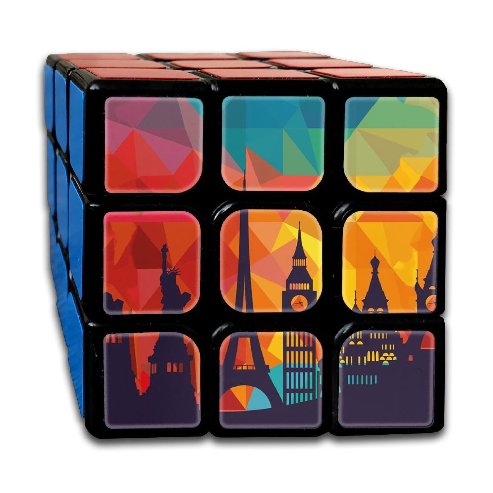 AVABAODAN Eiffel Tower Comic Rubik's Cube Custom 3x3x3 Magic Square Puzzles Game Portable Toys-Anti Stress For Anti-anxiety Adults Kids