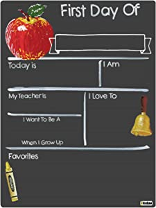 Cohas First Day of School Milestone Board with Basic Designs and Reusable Chalkboard Style Surface, 9 by 12 Inches, No Marker