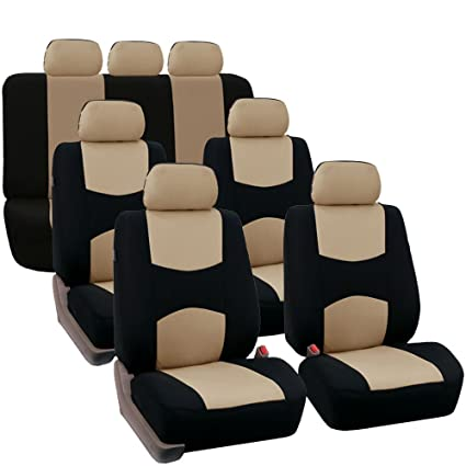 FH GROUP FB051217 Three Row Multifunctional Flat Cloth Car Seat Covers Airbag Compatible And