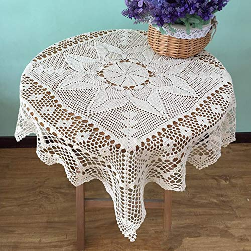 USTIDE Rural Cotton Crochet Tablecloth Square Handmade Table Cloth Light Beige Tablecloth 33 inches (End Table Cover)
