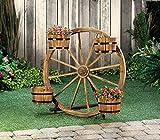 Planters Garden Decor New Wagon Wheel Barrel Planter Display Garden Wooden Outdoor Flower Yard Stand
