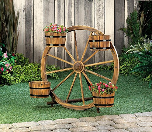 Planters Garden Decor New Wagon Wheel Barrel Planter Display Garden Wooden  Outdoor Flower Yard Stand By