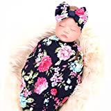 Baby : Newborn receiving blanket headband set flower print baby swaddle receiving blankets ga