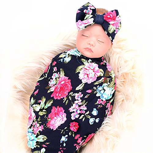 Newborn Receiving Blanket Headband Set Flower Print Baby Swaddle Receiving Blankets -