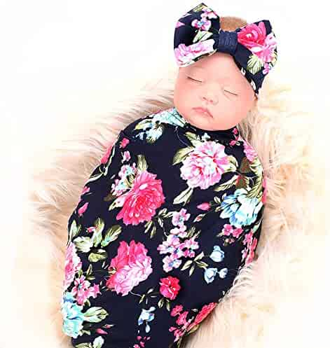 Newborn Receiving Blanket Headband Set Flower Print Baby Swaddle Receiving Blankets ga
