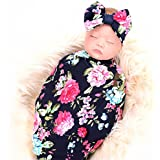 Newborn Receiving Blanket Headband Set Flower...