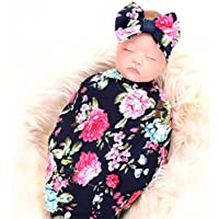 Newborn Receiving Blanket Headband Set Flower Print Baby...