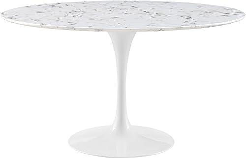 Modway MO-EEI-1132-WHI Lippa Mid-Century Modern Round Artificial Marble Top, 54 , White Base