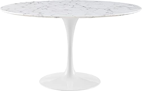 Modway MO-EEI-1132-WHI Lippa Mid-Century Modern Round Artificial Marble Top