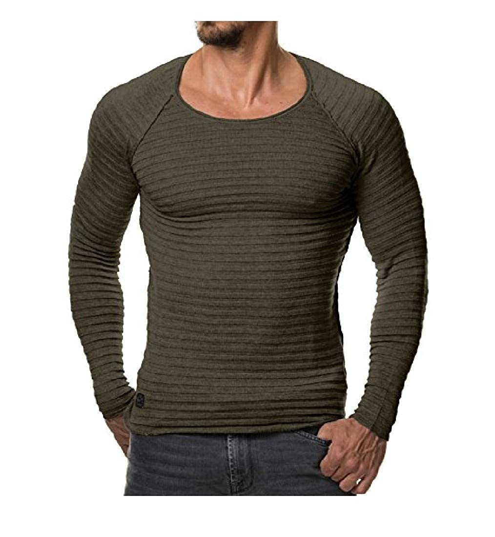 Freely Mens Long-Sleeve Scoop Neck Knitted Down Tops T-Shirt