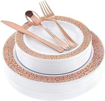 Amazon.com: Juego de platos desechables de plástico para el ...