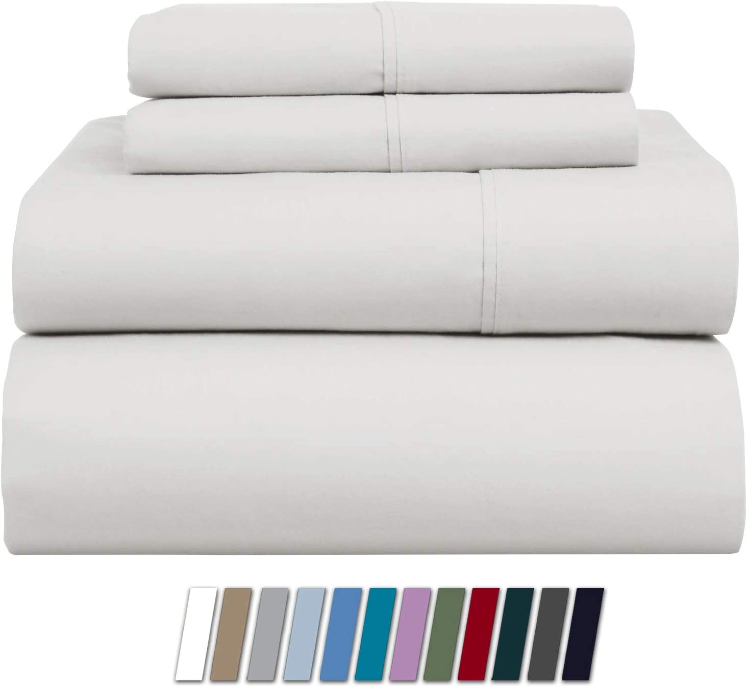 1000-Thread-Count 100% Pure Cotton Bed Sheets on Amazon - 4 Pc Queen Size White Sheet Set, Single Ply Long Staple Combed Cotton Yarns, Best Luxury Sateen Weave, Fits Mattress Upto 20'' Deep Pocket