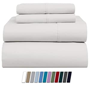 800 Thread Count 100% Cotton Sheet White Queen Sheets Set, 4-Piece Long-staple Combed Pure Cotton Best Sheets For Bed, Breathable, Soft & Silky Sateen Weave Fits Mattress Upto 18'' Deep Pocket