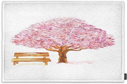 Amazon Com Moslion Tree Door Mat Love Cherry Trees Blossom Sakura Flower With Bench In Garden Doormat Indoor Front Fun Door Mat Inside Large Bathroom Non Slip Mat 18x30 Inch Pink Brown