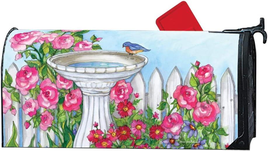 Mailwraps Studio M Backyard Birdbath Decorative Magnetic Mailbox Cover