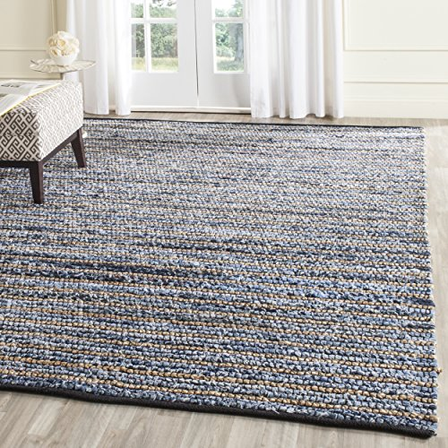 Safavieh Cape Cod Collection CAP363A Hand Woven Blue and Natural Jute and Cotton Area Rug (9' x 12')
